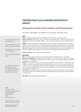 tiroidektomi olgularımızın retrospektif analizi