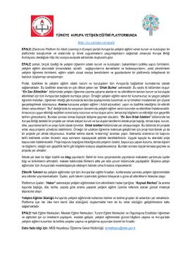 TÜRKİYE AVRUPA YETİŞKİN EĞİTİMİ PLATFORMUNDA http://ec