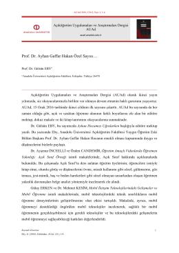 Prof. Dr. Ayhan Gaffar Hakan Özel Sayısı… - AUAd