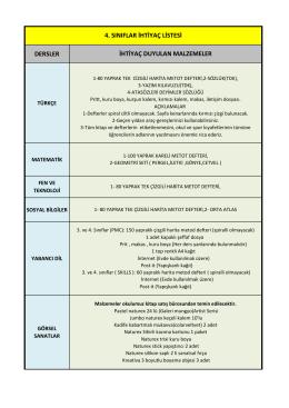 dersler 4. sınıflar ihtiyaç listesi ihtiyaç duyulan malzemeler