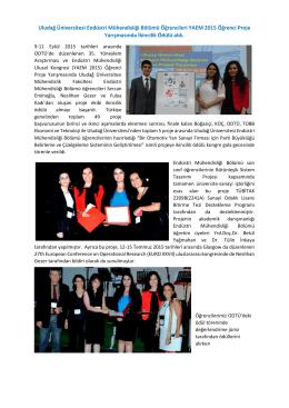 Bölümümüz Öğrencileri YAEM 2015 Öğrenci Proje Yarışmasında