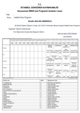 Sınıfın Adı 9/A ANADOLU Gençosman İMKB Çok Programlı Anadolu