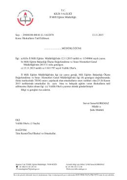 T.C. KİLİS VALİLİĞİ İl Millî Eğitim Müdürlüğü Sayı