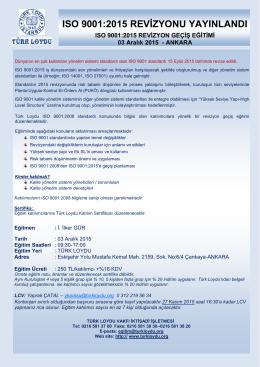 ISO 9001:2015 Revizyon Geçiş Eğitimi
