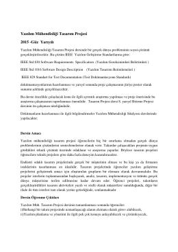 Yazılım Mühendisliği Tasarım Projesi 2015 -Güz