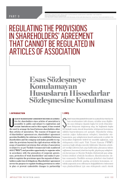 regulatıng the provısıons ın shareholders` agreement that cannot be
