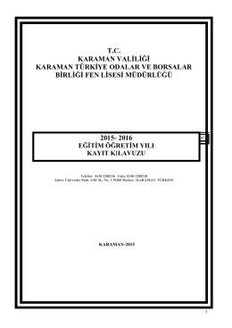 2015 kayıt kılavuzu - KARAMAN / MERKEZ