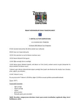 15 Kasım 2015 Batum Turu Programı