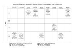 2015-2016 Güz Dönemi PDR Final Programı