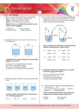 5. Sınıf Fen Bilimleri Kazanım Kavrama Testi 6
