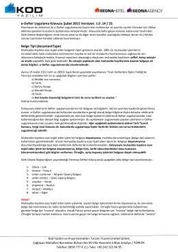 e-Defter Uygulama Kılavuzu Şubat 2015 Versiyon