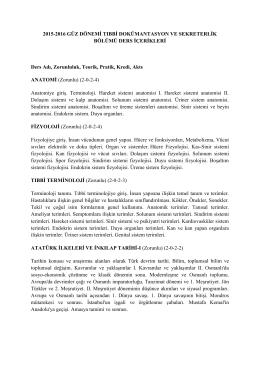 Tıbbi Dokümantasyon ve Sekreterlik 2015 Girişliler İçin Ders İçerikleri