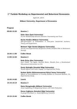 1st Turkish Workshop on Experimental and Behavioral Economics