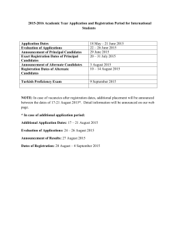 2015-2016 Academic Year Application and Registration Period for