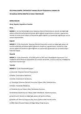 Yönetmelik - Yabancı Diller Yüksekokulu