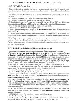 Yaz K.Kursu Geçici Öğretici Bilgi Dökümanı.