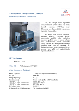 SDT (Eşzamanlı Termogravimetrik Çözümleyici ve - Ege