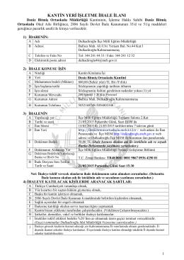 kantin yeri işletme ihale ilanı - Dulkadiroğlu İlçe Milli Eğitim Müdürlüğü