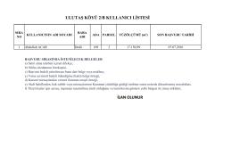 İLAN OLUNUR ULUTAŞ KÖYÜ 2/B KULLANICI LİSTESİ