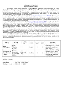 10/12/2015 Sözcü Gazetesi İlan başvuru tarihi : 10/12/2015
