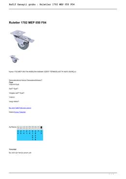 Hafif Sanayii grubu : Ruletler 1702 MEP 050 F04