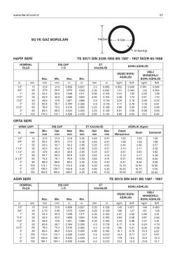 SU VE GAZ BORULARI HAFİF SERİ TS 301/1 DIN 2439