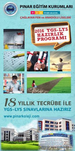 2016 ygs lys hazırlık programı - Yenimahalle Çağlayan Fen ve