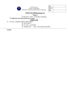 EEM 316 (Haberleşme I) Vize I