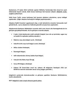 Bankamızın, 07 Şubat 2015 tarihinde yapılan Müfettiş Yardımcılığı