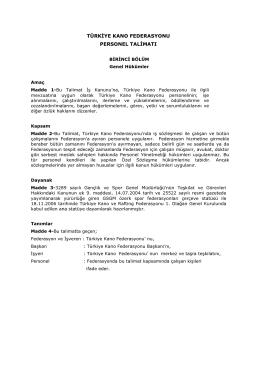 Personel Talimatı - Türkiye Kano Federasyonu