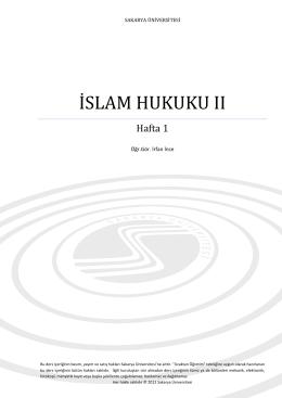 islam hukuku ıı - Sakarya Üniversitesi