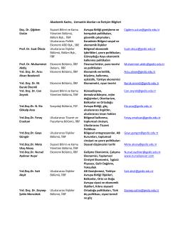 Akademik Kadro, Uzmanlık Alanları ve İletişim Bilgileri Doç. Dr
