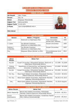 Doç. Dr. Uğur YÜZGEÇ - Bilecik Şeyh Edebali Üniversitesi