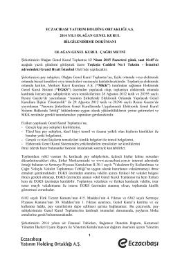 Genel Kurul Bilgilendirme Dökümanı 13.04.2015