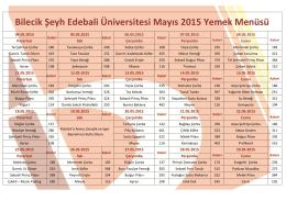Bilecik Şeyh Edebali Üniversitesi Mayıs 2015 Yemek Menüsü
