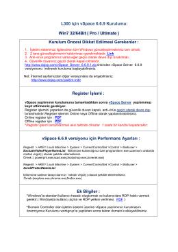 L300 için vSpace 6.6.9 Kurulumu: Win7 32/64Bit ( Pro / Ultimate