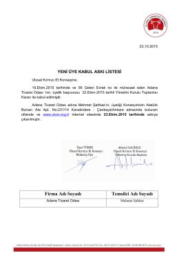 23.10.2015 tarihli UKON Yeni Üye Kabul Askı Listesi