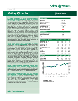Göltaş Çimento - Şeker Yatırım