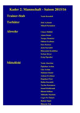 Kader 2. Mannschaft - Saison 2015/16