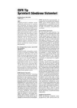 ESFR Tip Sprinklerli Söndürme Sistemleri
