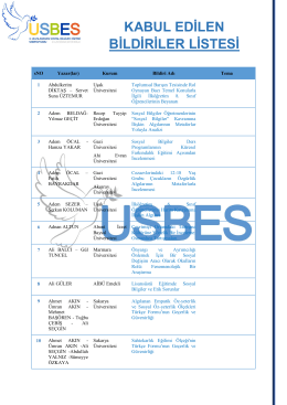 USBES 2015 - Kabul Edilen Bildiriler