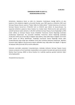 Hissedar Duyuru Metni 13.08.2015