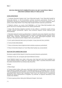 EK 3 Destek Ödemesi İçin Kuruluşların Sunacağı Bilgi ve Belgeler
