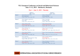 VII. European Conference on Social and Behavioral Sciences