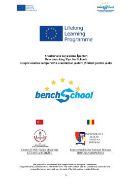 Okullar için Kıyaslama İpuçları Benchmarking Tips for Schools