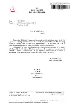 Valilik Onayı - Bolu Halk Sağlığı Müdürlüğü