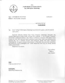 T.C. NARLIDERE KAYMAKAMLIĞI İlçe Milli Eğitim Müdürlüğü Sayı