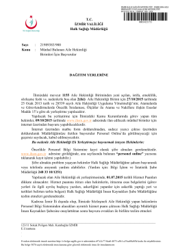 T.C. İZMİR VALİLİĞİ Halk Sağlığı Müdürlüğü Sayı : 21989383/900