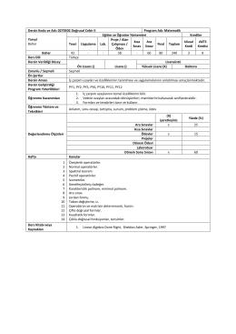 Dersin Kodu ve Adı: 0270502 Doğrusal Cebir II Program Adı