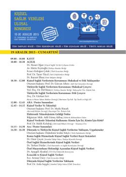 19 ARALIK 2015 - CUMARTESİ - Hasta ve Hasta Yakını Hakları